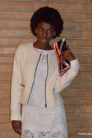 white c&a dress - white Camaïeu blazer - navy Accessorize bag