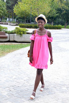 bubble gum Moja dress - cream H&M hat - carrot orange New Yorker bag