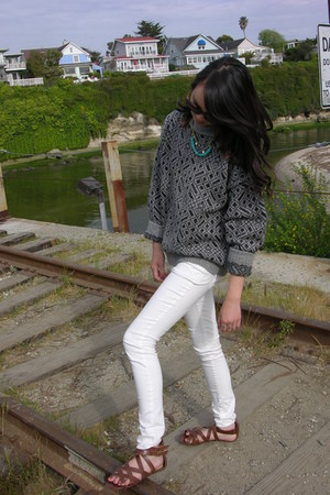 Forever 21 jeans - Saks Fifth Ave Thrifted sweater - H&M sandals