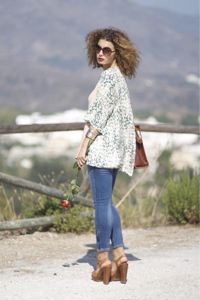 kimono H&M blouse - H&M jeans - vintage bag - Zara heels - Zara belt