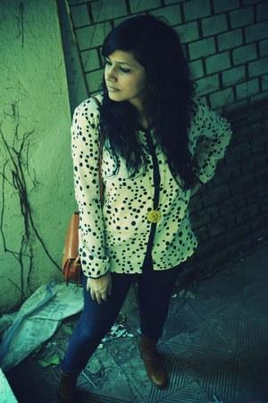 Promod boots - Zara shirt - Promod bag