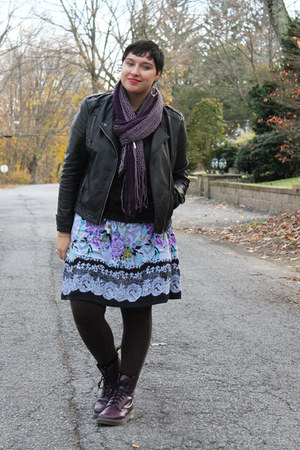 purple leather doc martens boots - charcoal gray argyle thrifted sweater