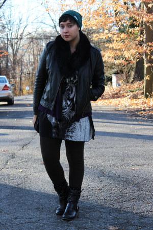 black fur stole H&M scarf