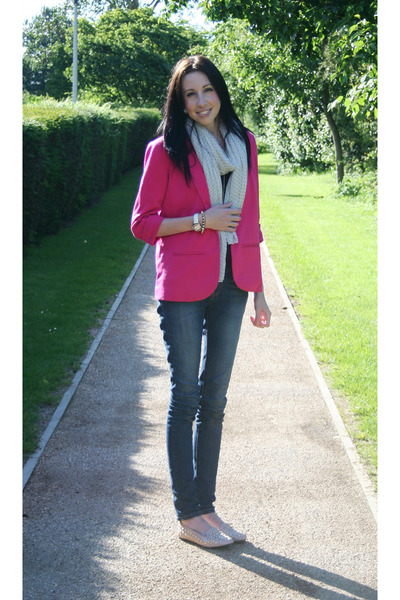 hot pink pink blazer Missguided blazer - blue denim new look jeans