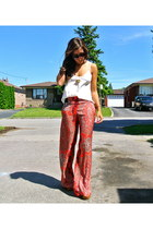 brick red paisley print Zara pants - beige silk tank wilfred top