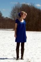 Forever21 gloves - Kimchi&Blue dress - Forever21 leggings - forgot boots