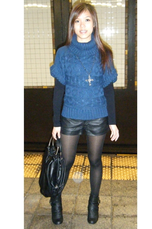 blue sweater Forever 21 top - black ankle wild diva boots