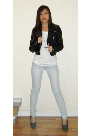 H&M jacket - Forever 21 top - Wet Seal jeans - Bamboo shoes - Forever 21 necklac