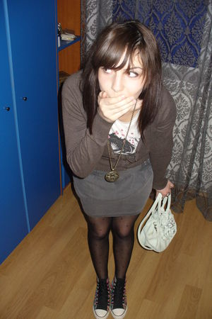 gray pull&bear skirt - brown H&M cardigan - white H&M t-shirt - Topshop purse -