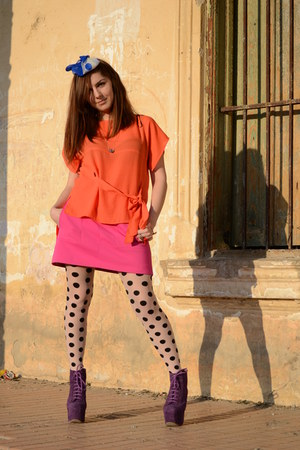 purple Jeffrey Campbell shoes - orange H&M Trend shirt