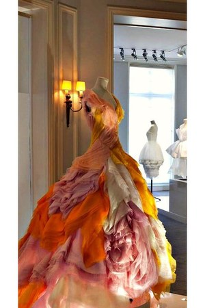 light orange dior dress