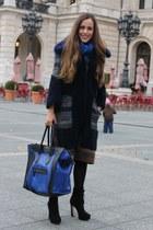 blue wool Gucci scarf - black suede Miu Miu boots