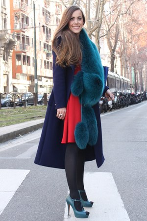 ruby red crepe Gucci dress - navy wool Gucci coat - teal fur Gucci scarf