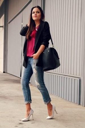 maroon Lol & Tonic top - silver asos heels