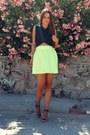 Yellow-zara-skirt-black-zara-top