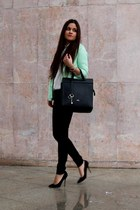 lime green Zara jacket - black Zara pants