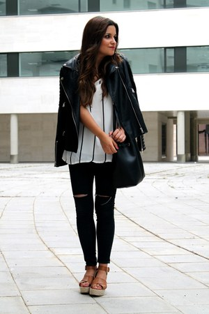 black romwe jacket - black Parfois bag - white romwe top
