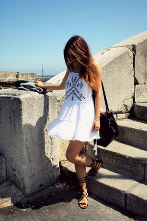 black Parfois bag - white Sheinside dress - black Mango sandals