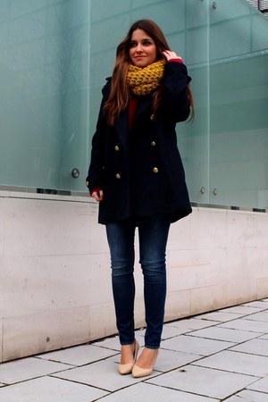 navy H&M coat - blue H&M jeans