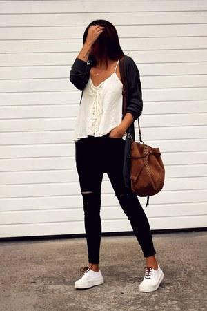 black romwe jeans - dark green Primark jacket - beige romwe top