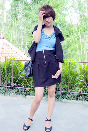 bloop endorse blazer - post bag - Anti Beauty skirt - treasure wedges