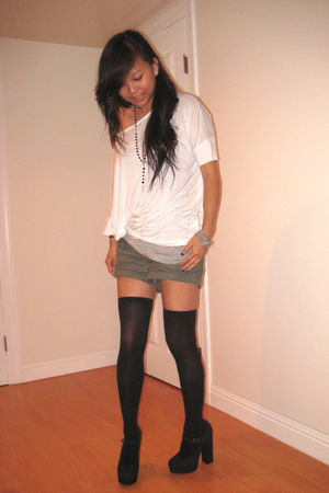 gray t by alexander wang top - white f21 top - black f21 stockings - black f21 s