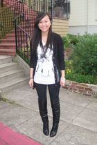 black asos boots - black H&M pants - white Forever21 shirt - black Rodarte for T