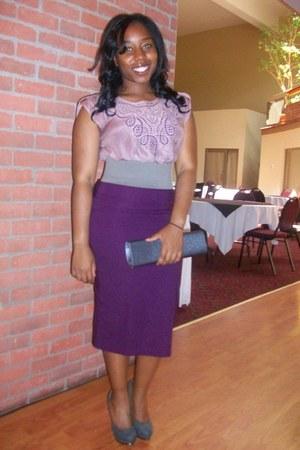 cutout detail blouse - belt - skirt - heels