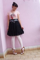 t-shirt - Terranova skirt - stockings - Retro shoes