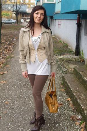 beige Tally Weijl jacket - Zara blouse - SIX leggings - Oviesse purse - Retro bo