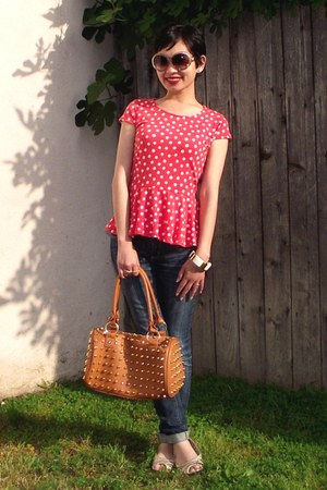 salmon Mossimo top - navy skinny cuffed Forever 21 jeans - tawny NA bag