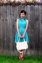 turquoise blue Sweet Rain dress - white NA bag