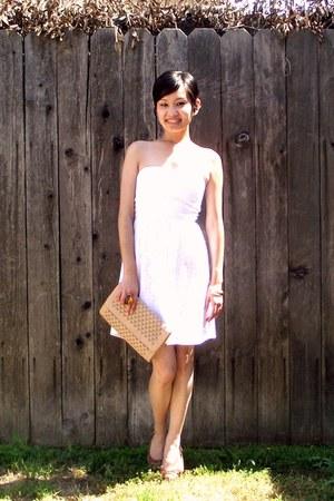 tan Dragonfly Designs purse - white Rue 21 dress - blue denim H&M jacket