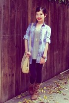 charcoal gray boyfriend Mossimo t-shirt - brown tapestry Call it Spring boots