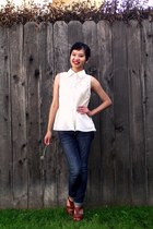 ivory crochet peplum monteau top - navy cuffed skinny Forever 21 jeans