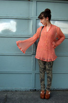 pink Vintage DIY blouse - army green camo pants  pants