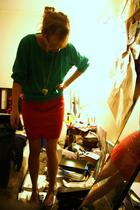 thrifted sweater - thrifted skirt - moms necklace