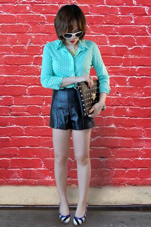 aquamarine blouse - black bag - black leather shorts shorts