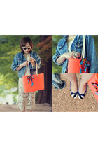 lace skirt skirt - jacket - bag - striped pumps pumps