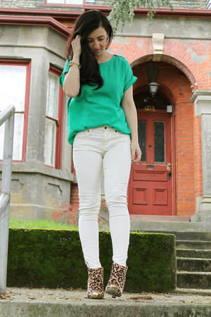 chartreuse shirt - gold Shoe Dazzle boots - cream Forever 21 jeans