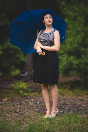 blue umbrella Target accessories - black kohls dress - neutral modcloth heels