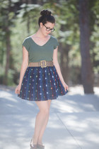 charcoal gray Warby Parker glasses - green shirt - blue skirt - dark khaki belt