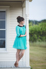 Turquoise-blue-thrifted-dress-brown-oxfords-thrifted-heels