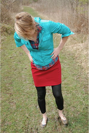red thrifted skirt - blue Thrifted Gap jacket - black Sale Rack at JCPenny leggi