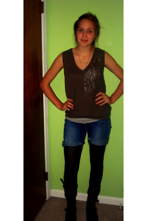 green Forever 21 cardigan - blue recycled shorts - black Forever 21 stockings -