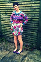 neon aztec asos jumper - floral bubble Topshop skirt - patent lips Office flats
