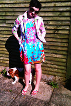 aquarium print Primark dress - floral Zara blazer - flip flops Faith sandals