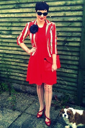 red candy stripe Luella blazer - ruby red ruffled vintage dress