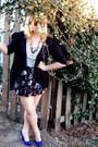 Black-target-cardigan-white-target-shirt-deep-purple-target-skirt-blue-for