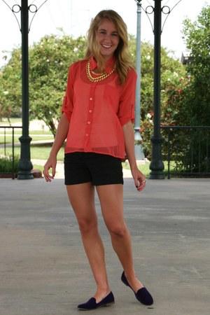 coral TJ Maxx blouse - black Express shorts - deep purple TJ Maxx flats